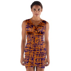 Blue and orange decorative pattern Wrap Front Bodycon Dress by Valentinaart