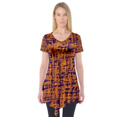 Blue And Orange Decorative Pattern Short Sleeve Tunic