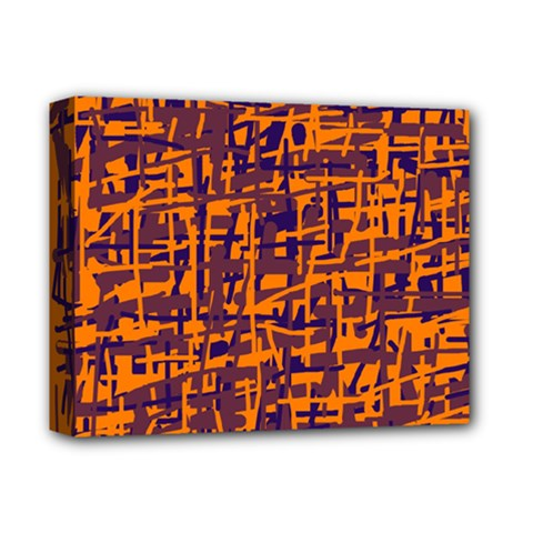 Orange And Blue Pattern Deluxe Canvas 14  X 11  by Valentinaart