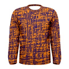 Orange And Blue Pattern Men s Long Sleeve Tee by Valentinaart
