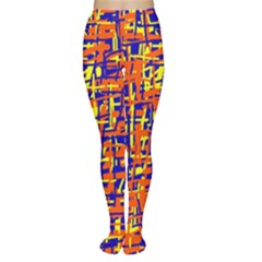 Orange, Blue And Yellow Pattern Women s Tights by Valentinaart