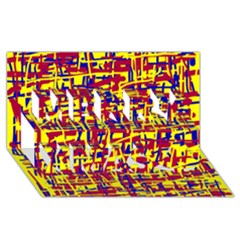 Red, Yellow And Blue Pattern Merry Xmas 3d Greeting Card (8x4)  by Valentinaart