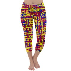 Red, yellow and blue pattern Capri Winter Leggings  by Valentinaart