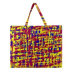 Red, Yellow And Blue Pattern Zipper Large Tote Bag by Valentinaart