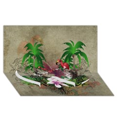 Wonderful Tropical Design With Palm And Flamingo Twin Heart Bottom 3d Greeting Card (8x4)  by FantasyWorld7