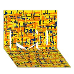 Yellow, Orange And Blue Pattern I Love You 3d Greeting Card (7x5)  by Valentinaart