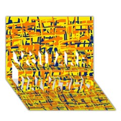 Yellow, Orange And Blue Pattern You Are Invited 3d Greeting Card (7x5)