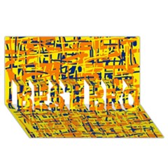 Yellow, Orange And Blue Pattern Best Bro 3d Greeting Card (8x4)  by Valentinaart