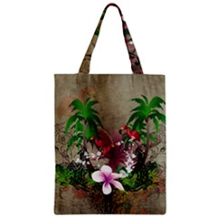 Wonderful Tropical Design With Palm And Flamingo Zipper Classic Tote Bag by FantasyWorld7