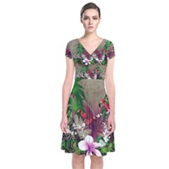 Wonderful Tropical Design With Palm And Flamingo Short Sleeve Front Wrap Dress by FantasyWorld7