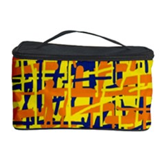 Yellow, Orange And Blue Pattern Cosmetic Storage Case by Valentinaart