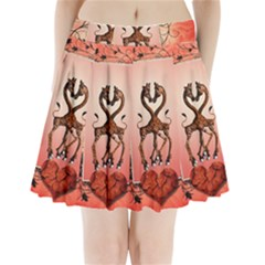 Cute Giraffe In Love With Heart And Floral Elements Pleated Mini Mesh Skirt by FantasyWorld7