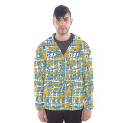 Blue And Yellow Elegant Pattern Hooded Wind Breaker (men) by Valentinaart
