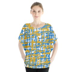 Blue And Yellow Elegant Pattern Batwing Chiffon Blouse