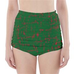 Green And Red Pattern High Waisted Bikini Bottoms
