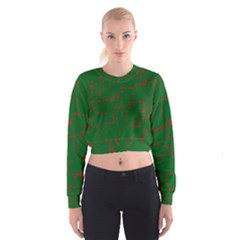Green And Red Pattern Women s Cropped Sweatshirt by Valentinaart