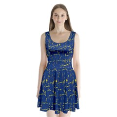 Deep Blue And Yellow Pattern Split Back Mini Dress  by Valentinaart