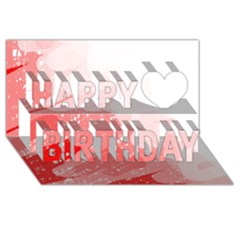 Red Pattern Happy Birthday 3d Greeting Card (8x4)  by Valentinaart