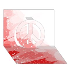 Red pattern Peace Sign 3D Greeting Card (7x5)  by Valentinaart