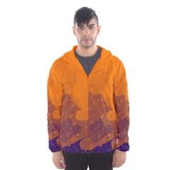 Orange And Blue Artistic Pattern Hooded Wind Breaker (men) by Valentinaart