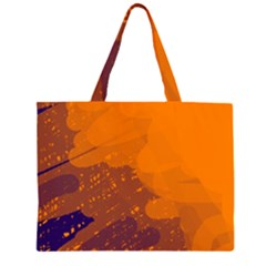Orange And Blue Artistic Pattern Zipper Large Tote Bag by Valentinaart
