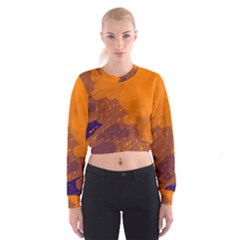 Orange And Blue Artistic Pattern Women s Cropped Sweatshirt by Valentinaart