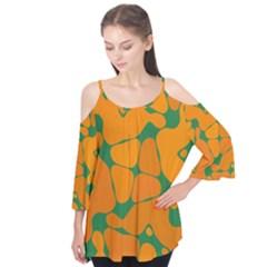 Orange shapes    Flutter Sleeve Tee by LalyLauraFLM