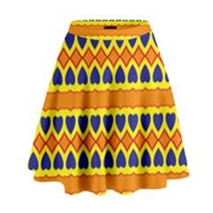 Hearts And Rhombus Pattern                                                                                            High Waist Skirt by LalyLauraFLM