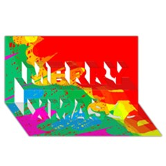 Colorful Abstract Design Merry Xmas 3d Greeting Card (8x4)  by Valentinaart