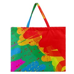 Colorful Abstract Design Zipper Large Tote Bag by Valentinaart