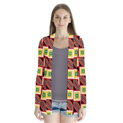 Squares And Rectangles Pattern       Drape Collar Cardigan by LalyLauraFLM