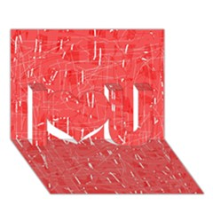 Red Pattern I Love You 3d Greeting Card (7x5)