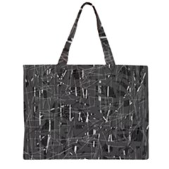Gray Pattern Zipper Large Tote Bag by Valentinaart
