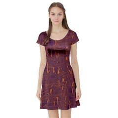 Purple Pattern Short Sleeve Skater Dress by Valentinaart