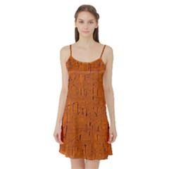 Orange Pattern Satin Night Slip by Valentinaart