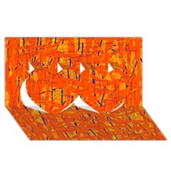 Orange Pattern Twin Hearts 3d Greeting Card (8x4)  by Valentinaart