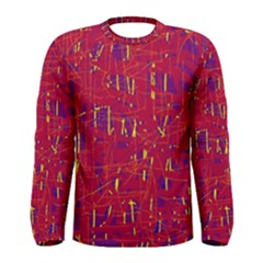 Red And Blue Pattern Men s Long Sleeve Tee by Valentinaart