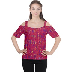 Red And Blue Pattern Women s Cutout Shoulder Tee by Valentinaart