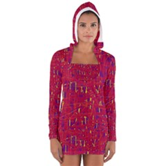 Red And Blue Pattern Women s Long Sleeve Hooded T Shirt by Valentinaart