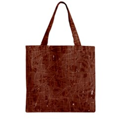 Brown Pattern Zipper Grocery Tote Bag by Valentinaart