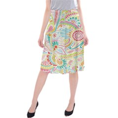 Hippie Flowers Pattern, Pink Blue Green, Zz0101 Midi Beach Skirt by Zandiepants