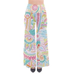 Hippie Flowers Pattern, Pink Blue Green, Zz0101 Pants by Zandiepants