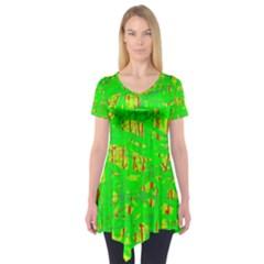 Neon Green Pattern Short Sleeve Tunic