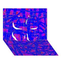 Blue Pattern Clover 3d Greeting Card (7x5)
