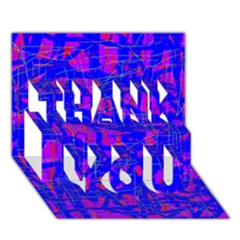Blue Pattern Thank You 3d Greeting Card (7x5)
