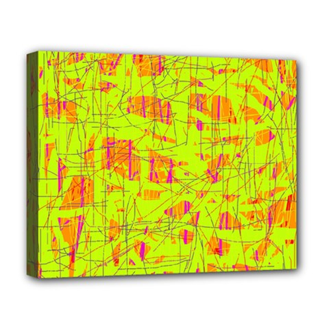 Yellow And Orange Pattern Deluxe Canvas 20  X 16   by Valentinaart