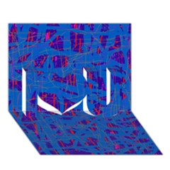 Deep Blue Pattern I Love You 3d Greeting Card (7x5)  by Valentinaart