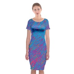 Blue Pattern Classic Short Sleeve Midi Dress by Valentinaart