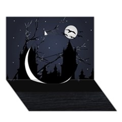 Dark Scene Illustration Circle 3d Greeting Card (7x5)  by dflcprints