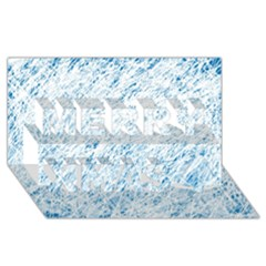 Blue Pattern Merry Xmas 3d Greeting Card (8x4)